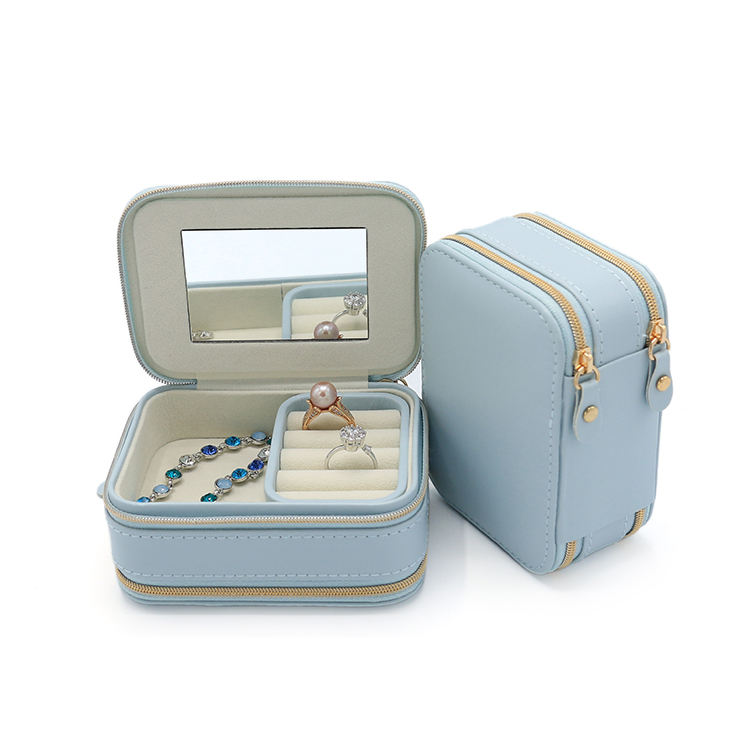 Double Zipper premium design jewelry organizer travel jewelry carrying cases storage box with mirror