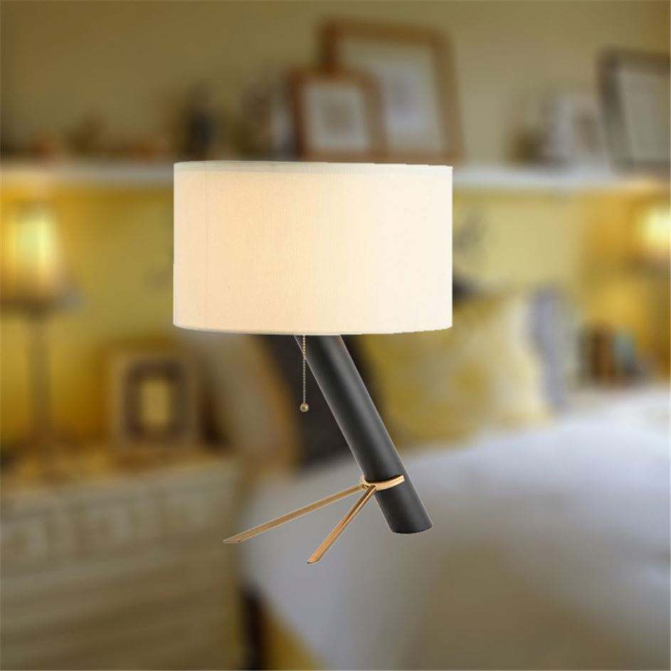Furniture Decorative Bedroom Shade Art Gold And Black Rustic Nightstand Lamps Terrarium Table Lamp