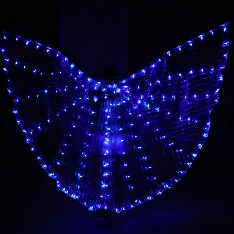Blue isis Led light wings adult dance luminous props belly dance cloak fluorescent butterfly dance ballet costume