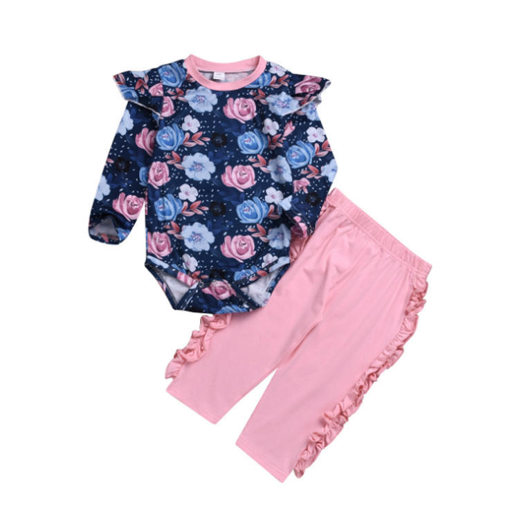 Pink Pantsuit With Round Collar and Large Flower Long Sleeve Baby Girl Clothing Romper