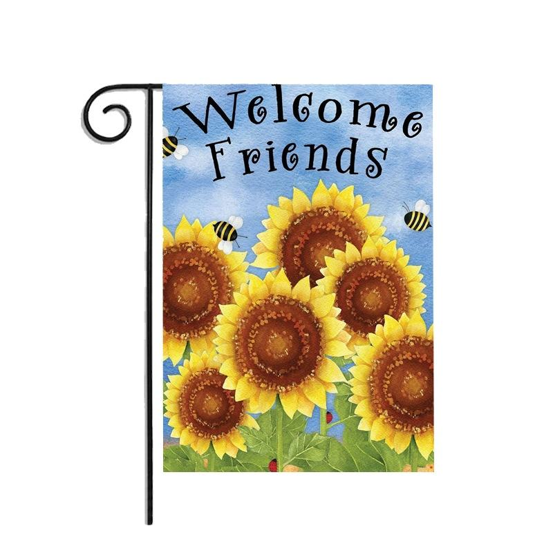 Sunflower garden flag autumn celebration harvest banner