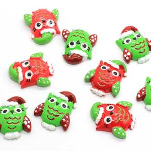 Christmas New Decoration Accessories Owl Red Green Color with Hat on Head 100pcs Flat Back Resin Bead Cabochon for Decor Home