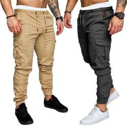 New fashion europe men solid color multi-pocket street pants outdoor sports fitness casual trousers long pencil pants