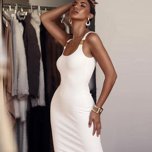 Wholesale summer sexy metal decorative strap dress long maxi sleeveless bodycon bandage dress