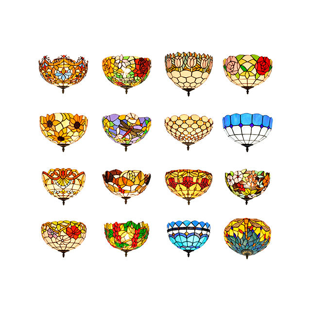 30cm Lamp Style Tiffany Colorful Stained Glass Dome for Decorated Celling Flush Mount Led Lihgt Restaurant Ceiling Light Vintage