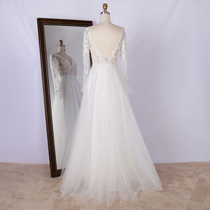 Wholesale v neck embroidery appliques white evening dress elegant long sleeve wedding dresses