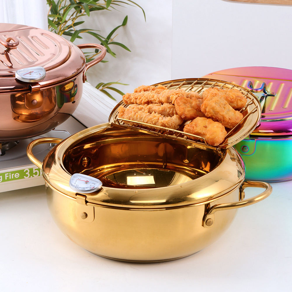 Home Used Stainless Steel Cooking Wok Pans Gold Copper Frying Pan with Lid
