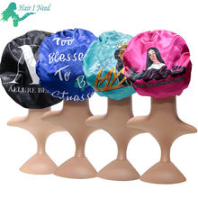 customized logo print on satin bonnet silk sleep cap