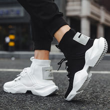 OEM High top Knit custom shoes men casual white black fashion Sock sneakers mens boots wholesale china