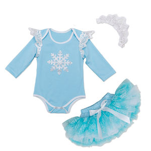 Fall Little Girls Birthday Frozen Blue Skirt 3 Pcs Outfits