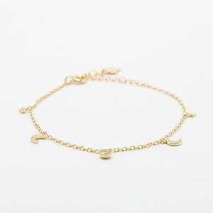 925 Sterling Silver Adjustable Bracelet Star and Moon Charms Bracelets with Real Gold Plated Chain