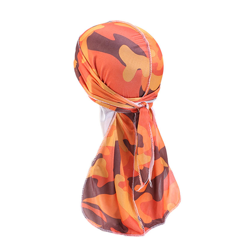 New Fashion Men's Camo Silky Durag Long Tail Pirate Head Cover Hat Women Bandanas do doo du rag Turban Hair Accessories Headwear