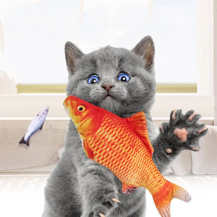 2020 Amazon Wholesale Small size Hot Creative Catnip Pet Chewing Plush Fish Cat Toy
