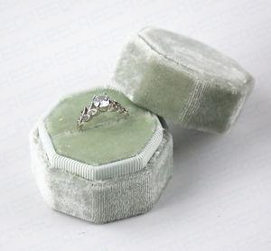 Wholesale custom logo luxury double vintage octagon velvet jewelry packaging wedding ring box