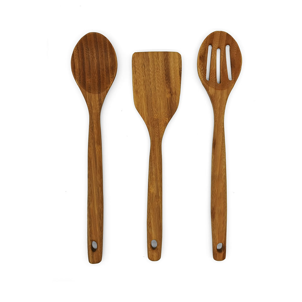 Great grade of 3 Pieces Kitchen Set Serving Tools Carbonized Bamboo Utensil Kitchen Accessories Cooking Utensil