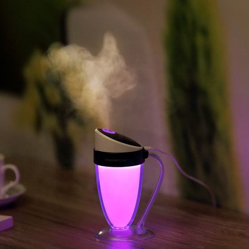 NOUVELLE Tasse Lumineuse USB Mini Humidificateur À Ultrasons 5V ABS + PP LED Purificateur D'air Atomiseur Brumisateur