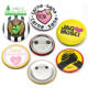 Wholesale OEM free logo design tinplate material reusable led electronic name blank pin button badges magnet with safty pin