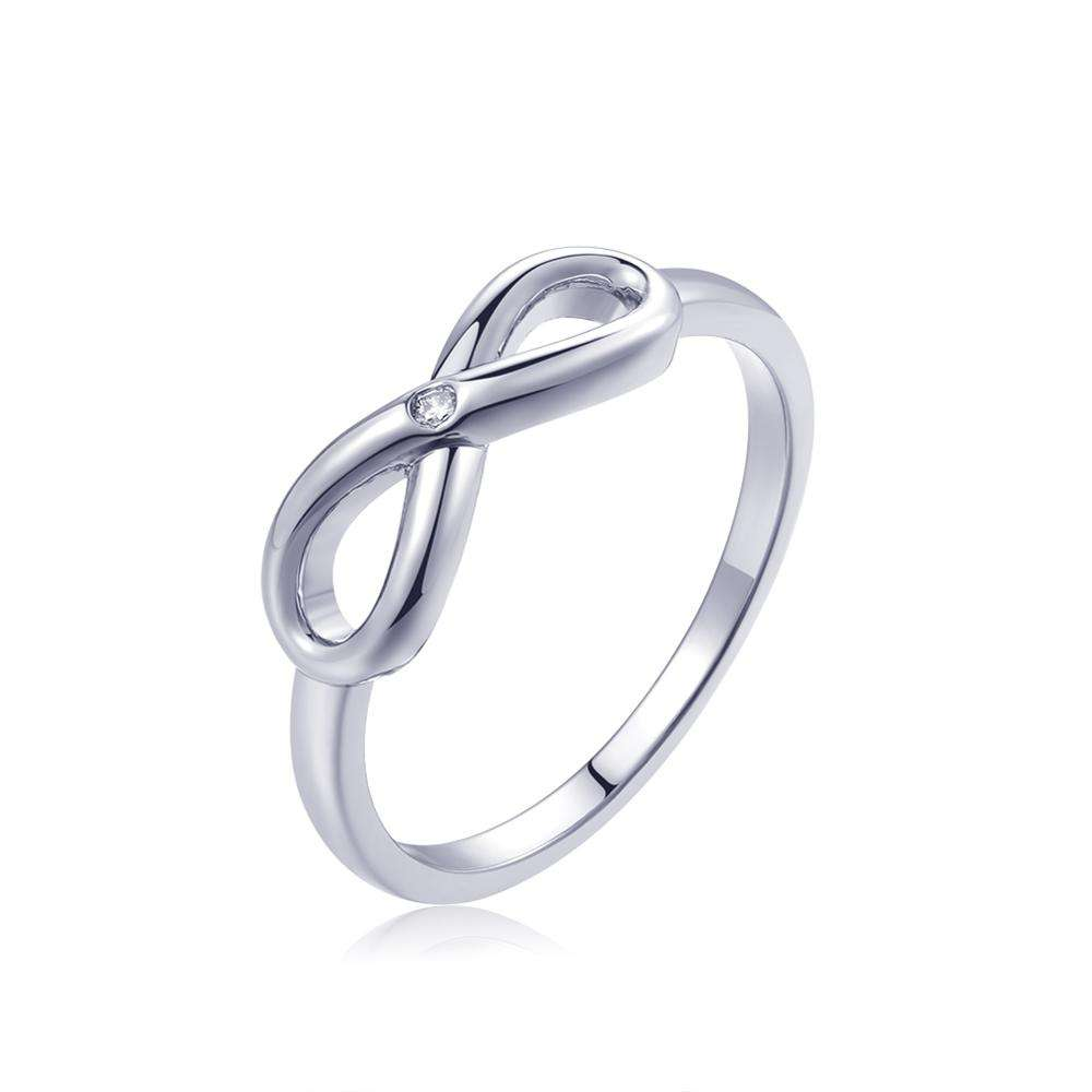 Fashion White Rose Gold Plated Fine Finger Jewelry Single Zircon Stone Ring Infinity Crystal Rings For Women Best Gift