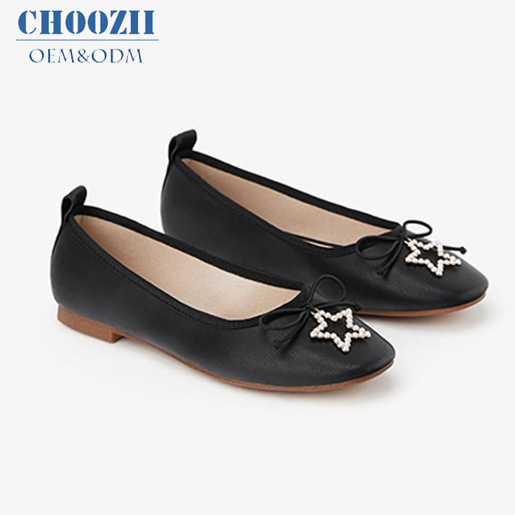 Choozii del Commercio All'ingrosso di Modo Casuale In Pelle Nera Ballerina Ragazze Piatto Mary Jane Womans Piatto Pattini di Vestito