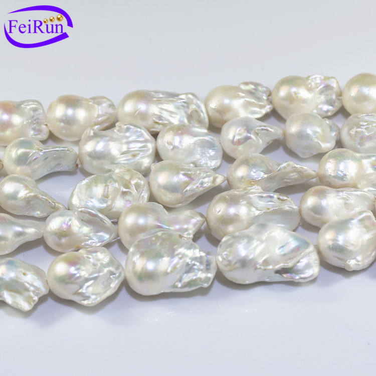 15x20mm large big size Wholesale Natural Fireball Nucleated Baroque real fresh water White freshwater Pearls Strands