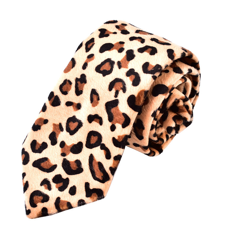 wholesale high quality mens 100% velvet leopard print ties