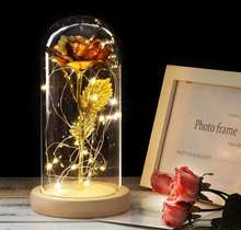 6 Colour Beauty And Red Rose In Flask A Glass Dome On A Wooden Base For Valentines Day Gift LED Rose Lamps Christmas