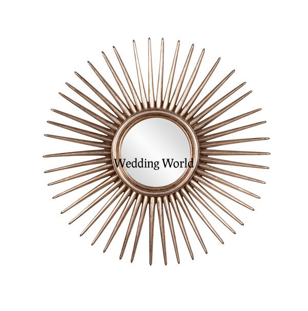 Indian Gold Wall Mirror Handmade Creative Metal Round Wall Sculpture Mirror For Home Decoration