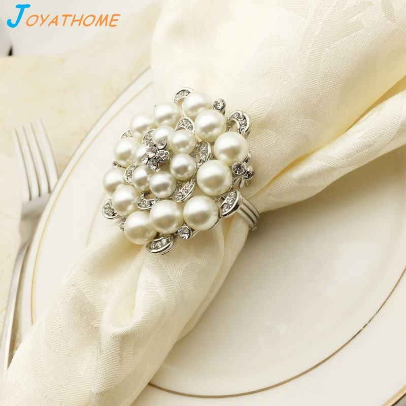 Rose Flower Shape Pearl Napkin Table Ring Rings Holder Wedding Christmas Ornaments Decoration Party Decorations Set