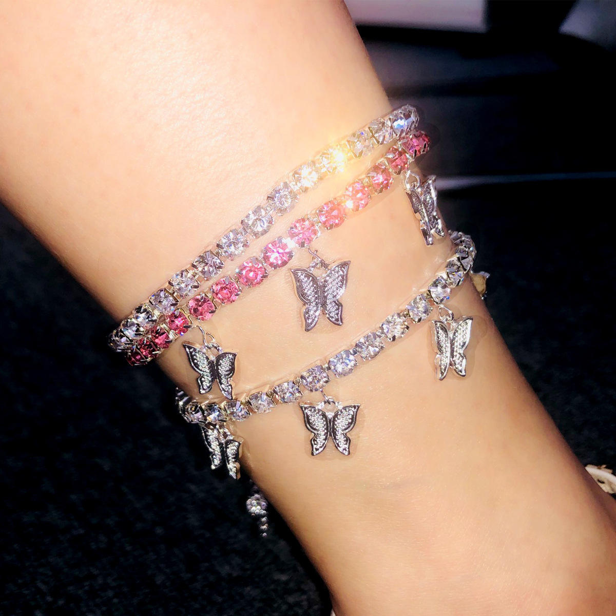 2020 cuban link ankle bracelet Stainless Steel Rose Gold diamond ankle charm foot jewelry butterfly anklet bracelet for women