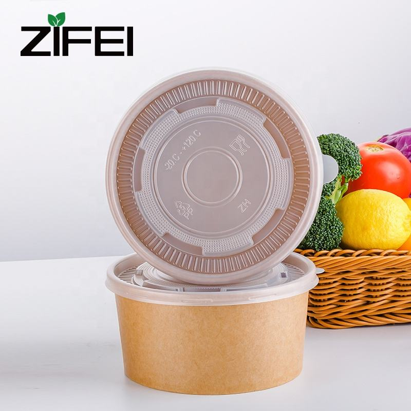Disposable kraft paper salad bowl/Ice Cream Cup Supplier/Paper Container with Lid