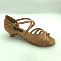 Girls Latin dance shoes  with cross straps  soft outsole  6801B-DTN