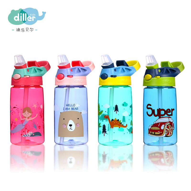 BPA free sports plastic tritan child children kids water bottle with straw
