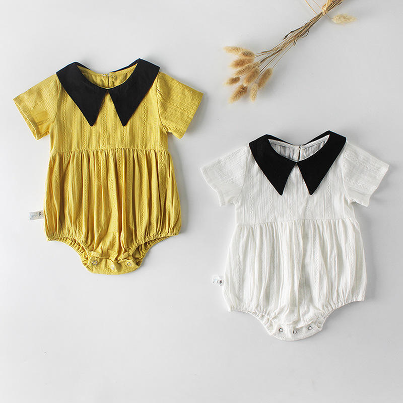 INS baby rompers baby girls jacquard ha pointed collar short sleeve conjoined climb clothes clothing baby cotton rompers