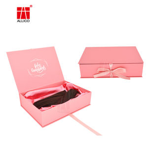 ALLICO Wholesale Cardboard Gift Boxes Black Bundles Wig Packaging Custom Hair Extension Box With Ribbon