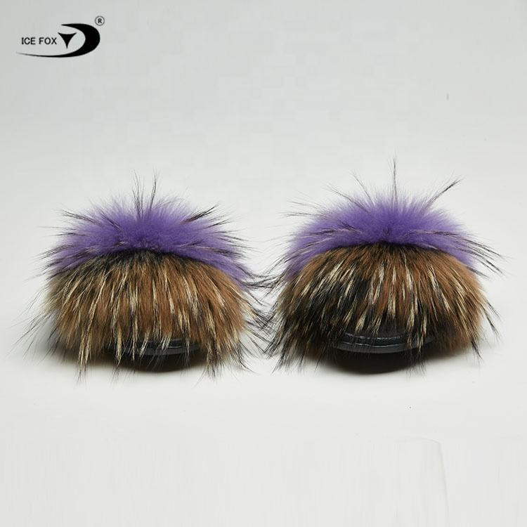 Wholesale Woman Soft Fur Slides Real Racoon Women Fur Slippers