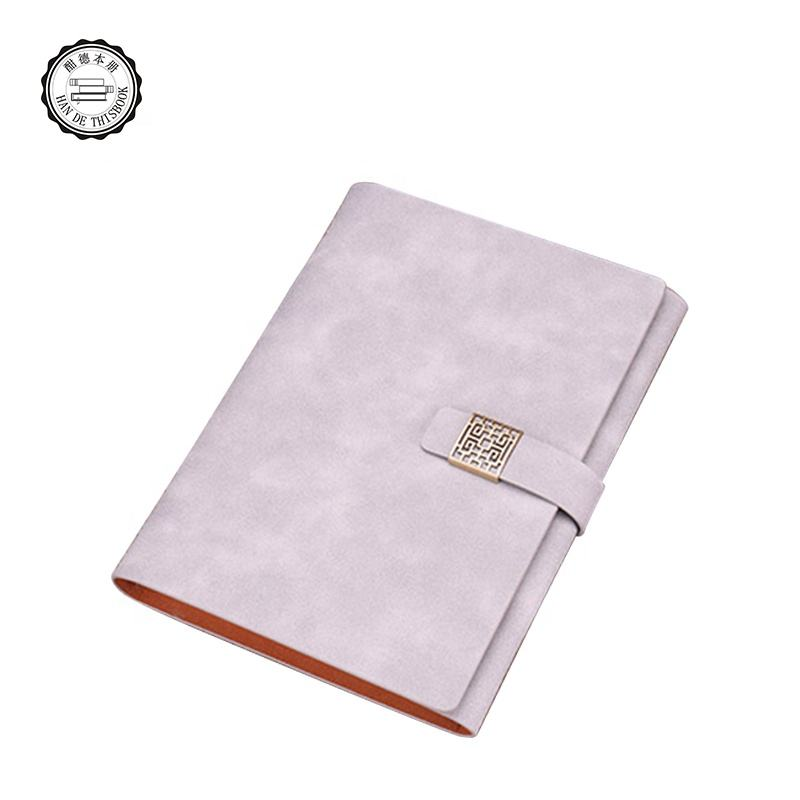 Custom high quality 2019 black pu magnetic flap closure ring binder leather for cover notebook