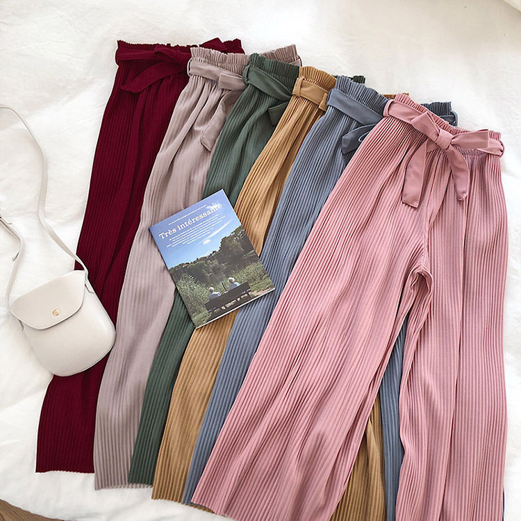 Korean chic style loose casual pleated summer pants women 2020