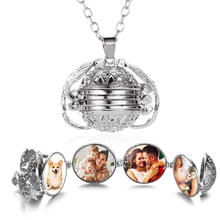 Magic Photo Pendant Memory Floating Locket Necklace Plated Angel Wings Flash Box