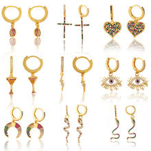 Barlaycs Fashion Style Heart, Star, Cross, Shell and Bows 14K Gold Plated Little Huggie Hoop Earrings for Women Jewelry