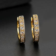 2020 Simple Design Hollow Round Clip On Earring Gold Silver Geometric Cubic Zirconia Hoop Earring For Women Wedding