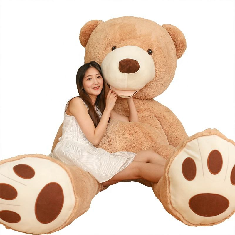 Low order high quality girl plush teddy bear as comfortable pillow Brown/White/plush toy huge teddy bear leather shell Big Bear