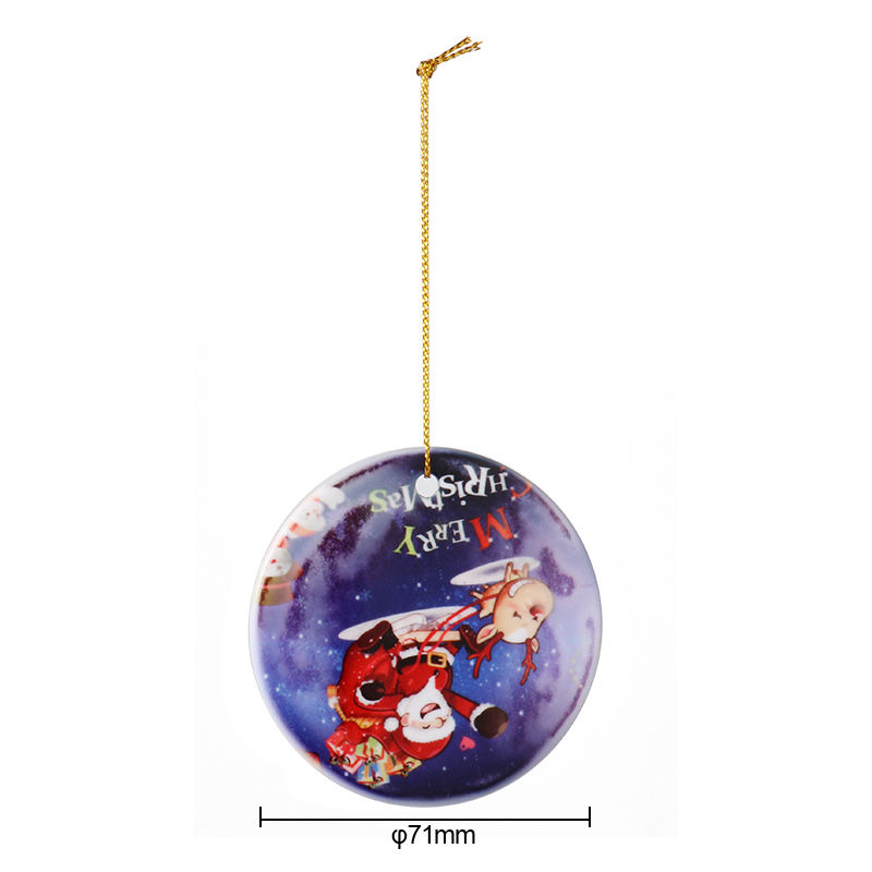 3 inch Round Circle Custom Sublimation Blank Ceramic Christmas Ornaments Flat Christmas Ornament