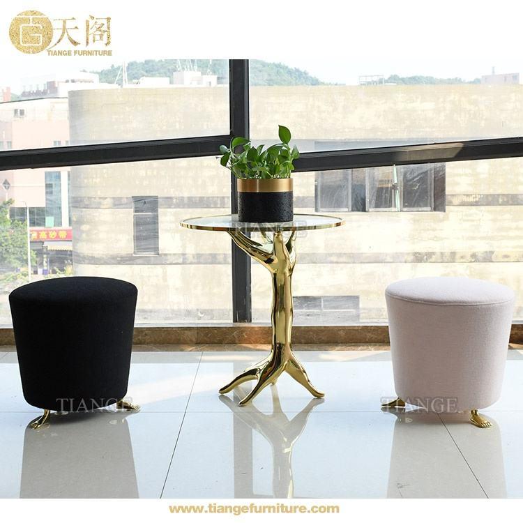 الكلاسيكية Handmade Furniture المصقولة البرونزية الانقسام زجاج طاولة القهوة