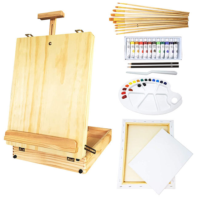 45 pcs best art supply Artist Painting Set with Tabletop Wood Easel Box painting kits Stretched Canvas drawing set for painting