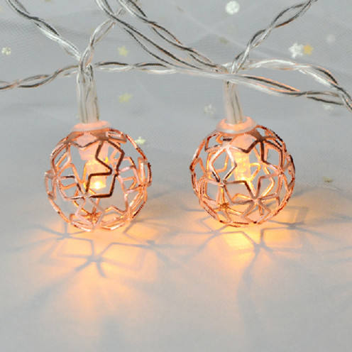 Ramadan Christmas Festival Decorative LED Rose Gold Metal Ball Light String Battery Operated Moroccan Ball Lantern Light