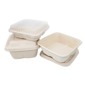 Top Selling Biodegradable Disposable Pulp Bagasse Food Containers With Lid Take Away