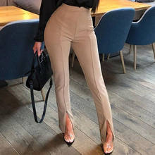 Women Autumn Cotton Casual Tight Fit Leg Opening Split High Waist Pants Trousers Casual Office Lady Strech Women Palazzo Pants