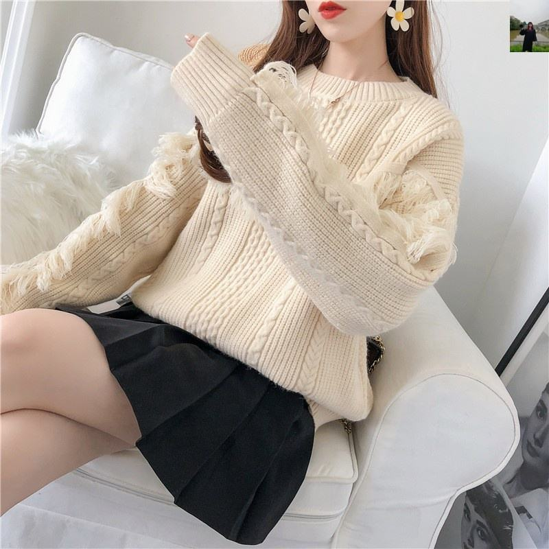 B61599A Sweater loose pullover 2019 spring and autumn new female round collar tassel sweater coat