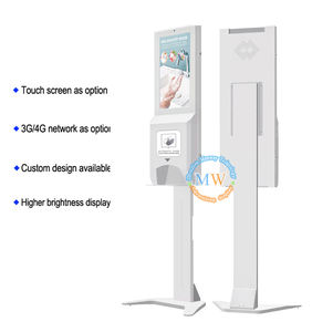 Hand Sanitizer Dispenser dengan 22 Inch Floor Stand LCD Digital Signage Iklan Bracket LED TV 55 Inch Display Kios