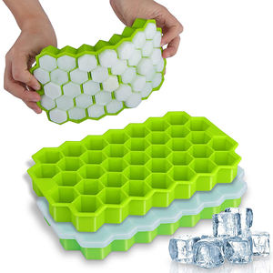 37-Cube Food Grade Safe Ice Cube Mold Custom Flexible BPA Free Silicone Ice Cube Tray With Lid